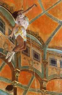 Miss La La at the Cirque Fernando, the painting by Edgar Degas. It shows Miss La La, a mixed-race acrobat, suspended from the rafters of the circus dome by a rope clenched between her teeth at the Cirque Fernando in Montmartre, Paris.