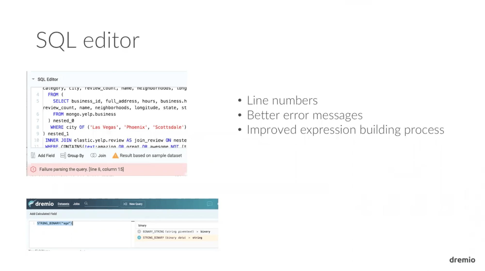Dremio 1.3 SQL Editor