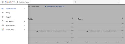 Google Cloud Cloud API Billing Menu Item Page with split light grey background