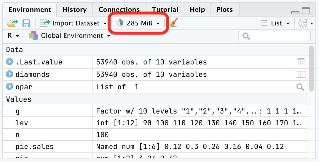 Screenshot of RStudio showing memory usage in the Environment Pane