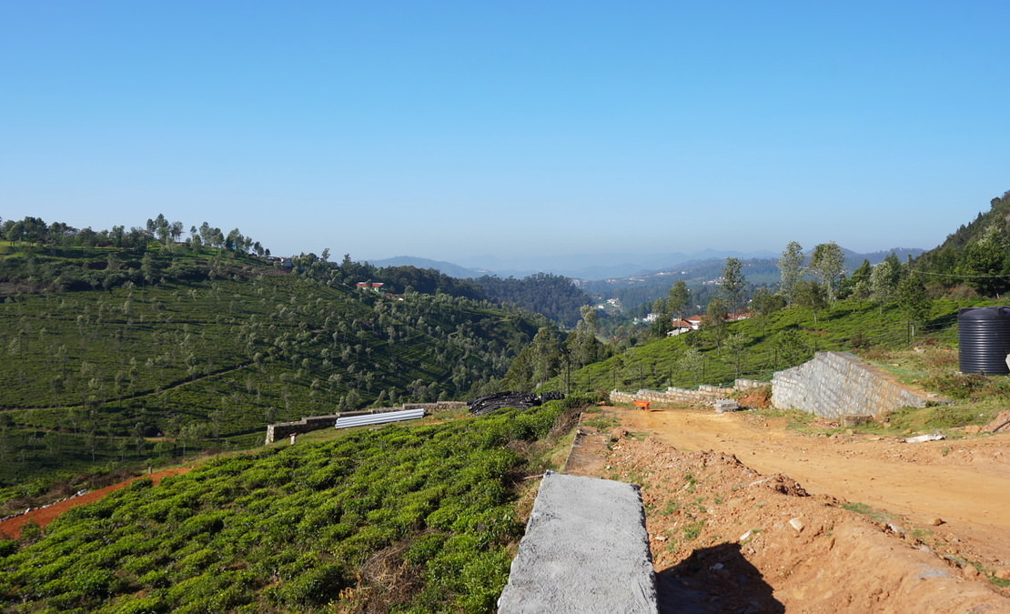 An internal road work in progress and views of the Highfield Tea estate