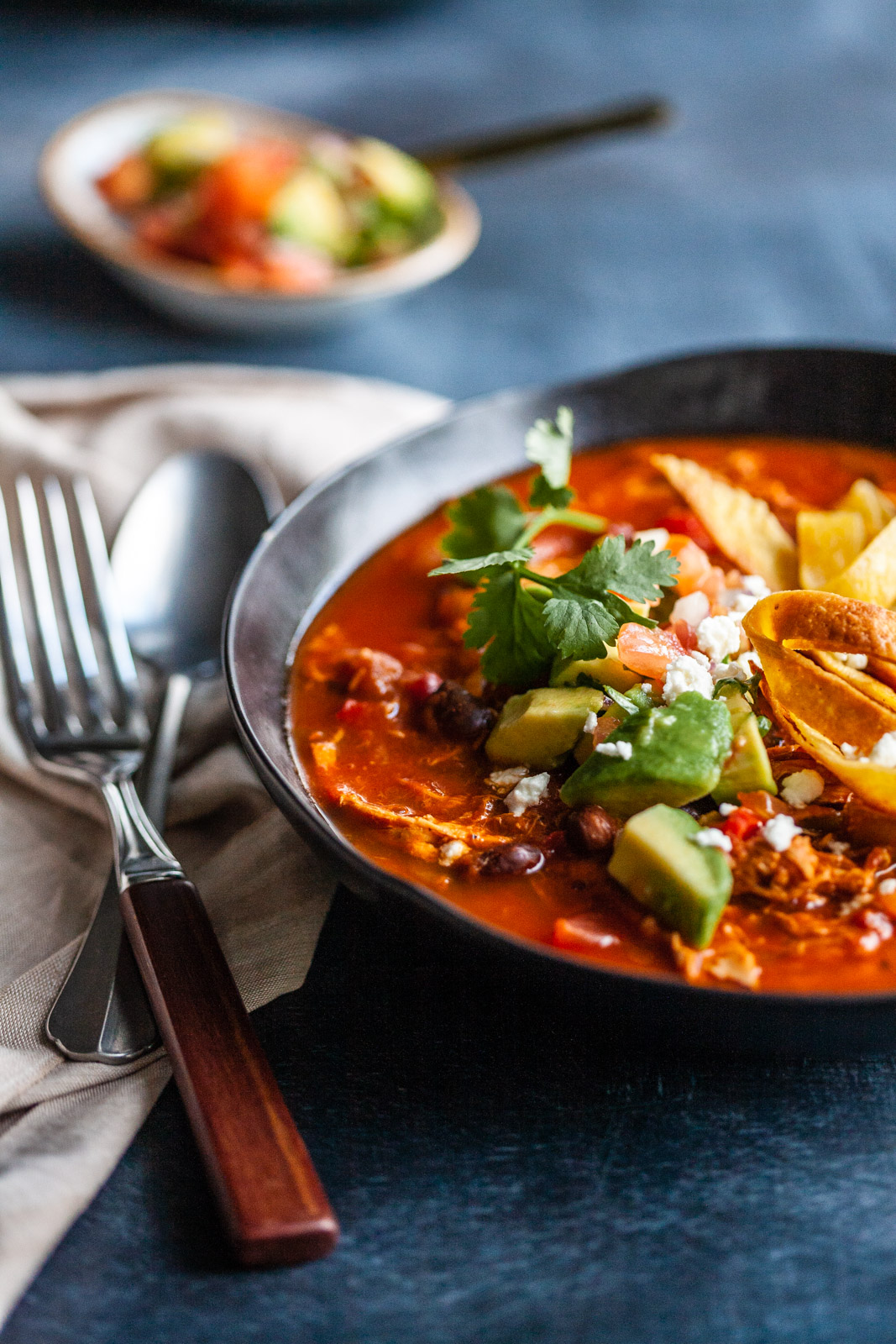 Chicken Tortilla Soup With Salsa And Homemade Tortillas