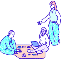 An illustration of Ethereum community members working together