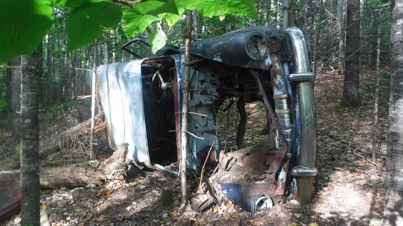 Wrecked car near the Appalachian Trail