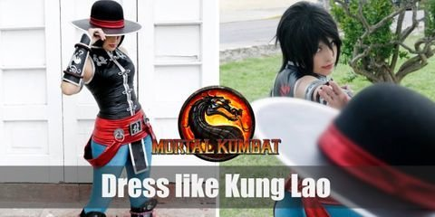 Descended from the Great Kung Lao and as a former Shaolin monk, Kung Lao's outfit is very reminiscent of his Chinese origins. He wears a black Chinese vest, bright blue pants, and a deadly razor-rimmed hat.