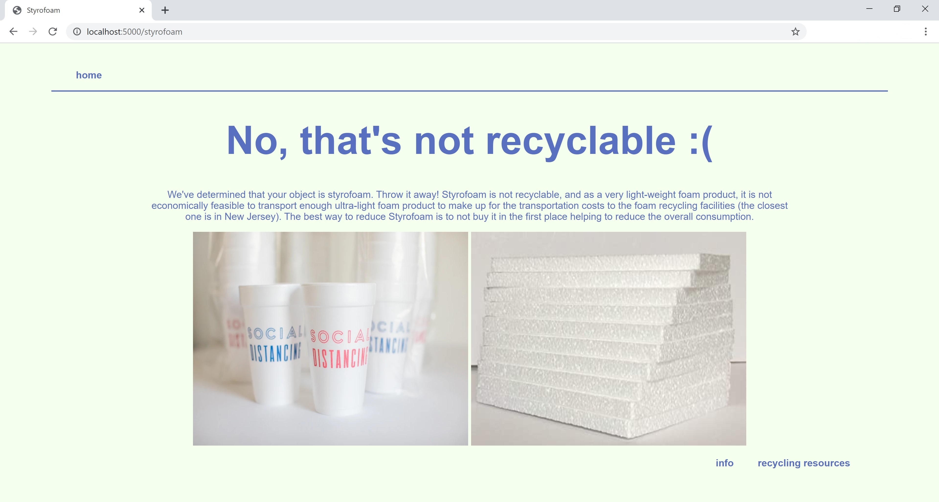 screenshot of Is This Recyclable? explaining why styrofoam is not recyclable