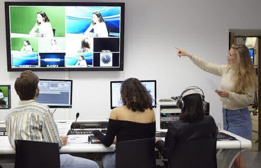 The Media Studio includes numerous rooms such as the television set room and control room, which allow students to bring their projects to life, in forms such as television shows, news programs, and more (particularly for students in communication and journalism).