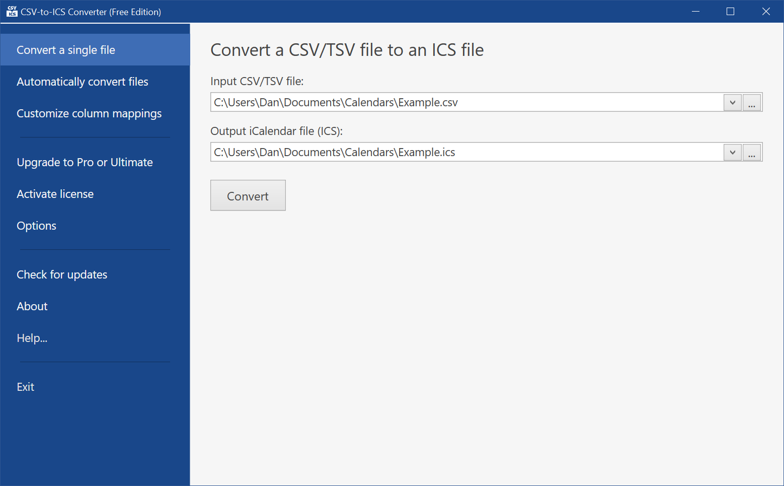 Select a CSV input file, select an ICS output file, and then click the Convert button to transform your CSV file into an ICS calendar.