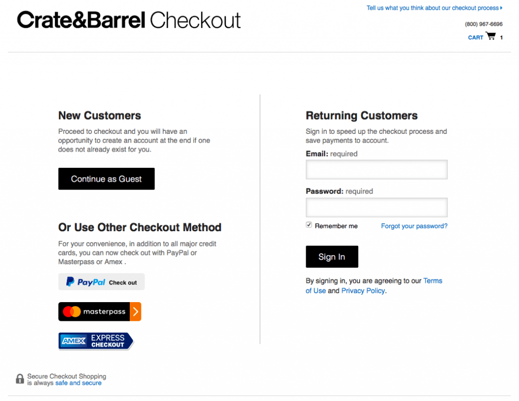 Create & Barrel checkout