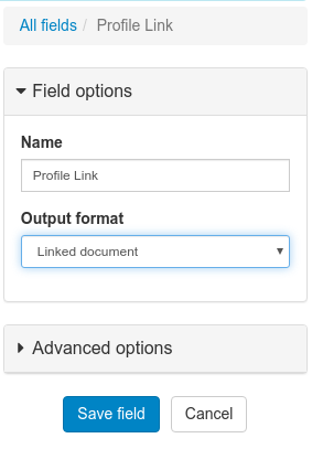 Set field format to Linked Document