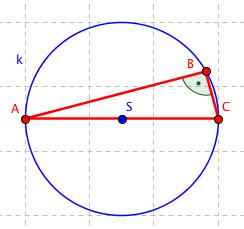 Další příklad Thaletovy kružnice