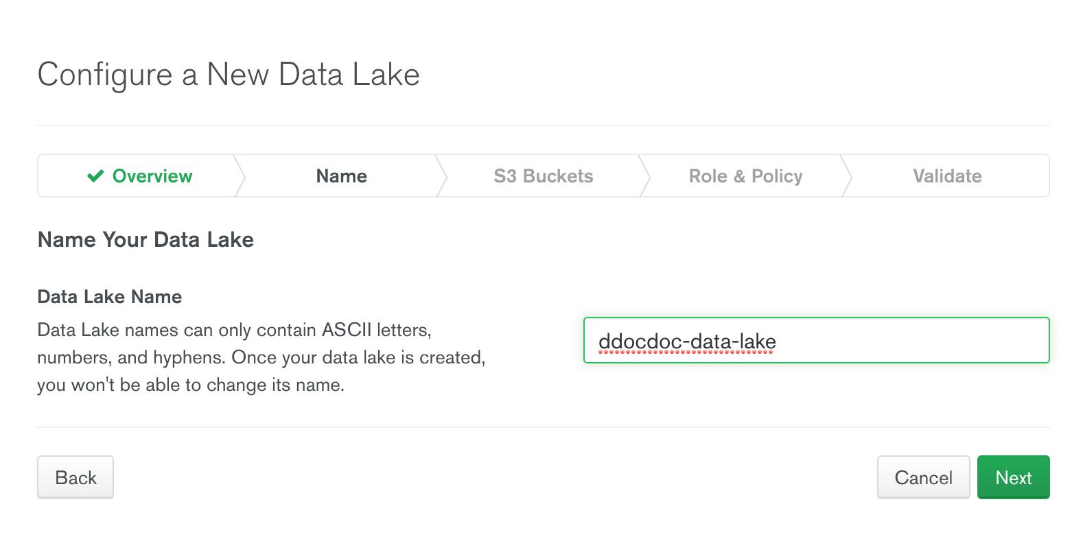 DataLake 이름 지정 화면