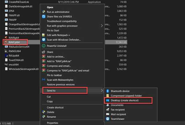 create Realtek audio manager shortcut