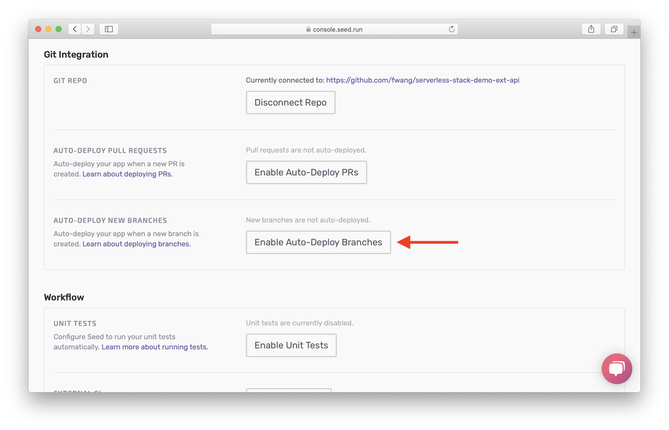 Select Enable Auto-Deploy Branches