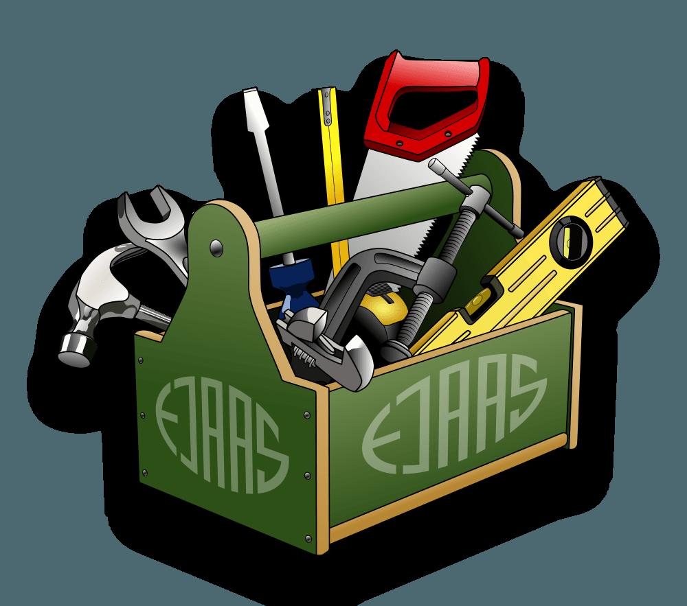 Grøn vørktøjskasse indeholdende forskelligt værktøj