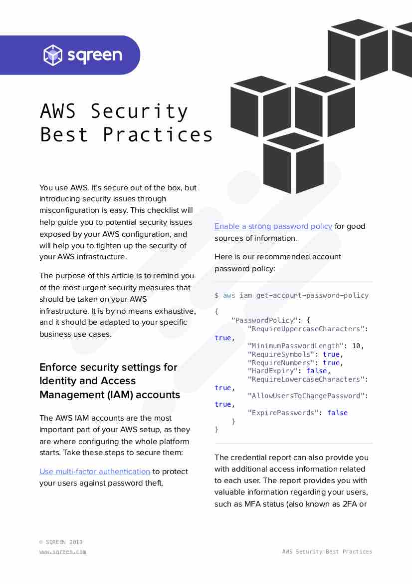 AWS Security Best Practices page 1