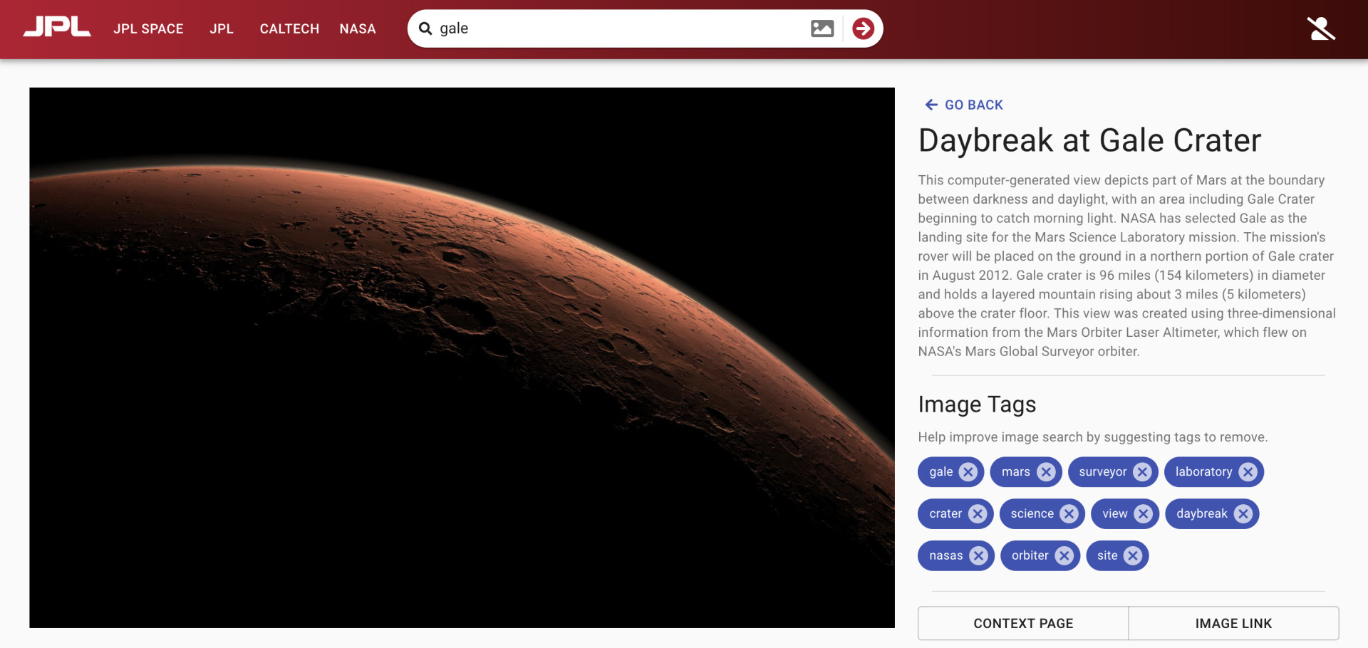 Gale crater details page