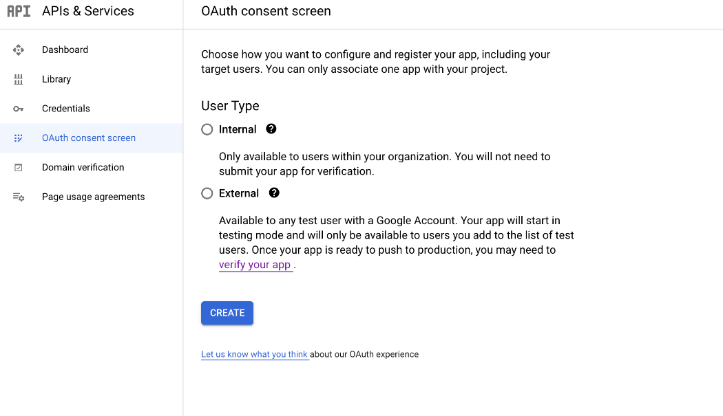 Google OAuth Screen