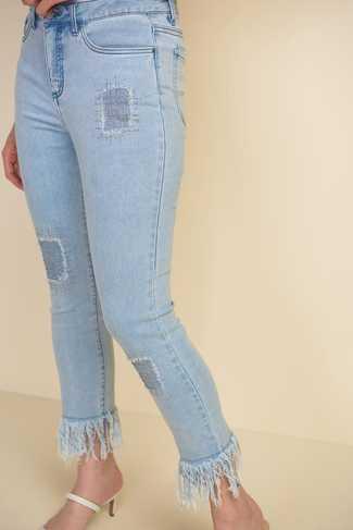 Joseph Ribkoff Shredded Hem Jeans