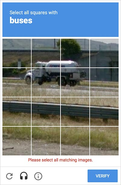 Image CAPTCHA depicting a petrol tanker asking user to select buses