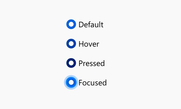 Illustration of all appearances a selected radio button can show when interacted with.