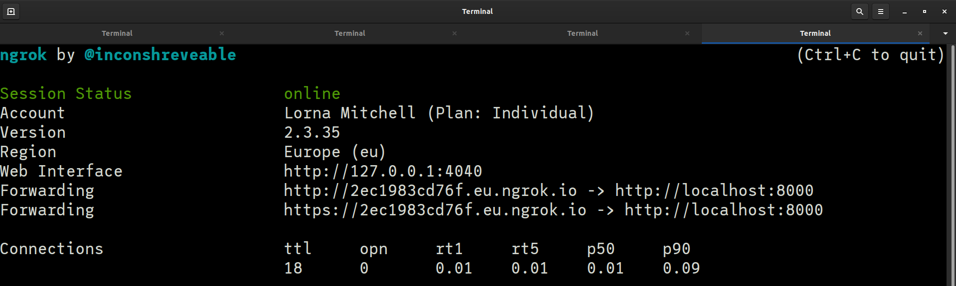 Ngrok running nicely in the terminal