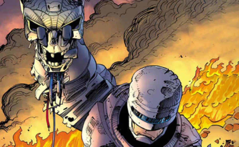 Robocop segura o crânio de um Exterminador T800 em Robocop versus Exterminador do Futuro