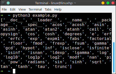 python module list all functions