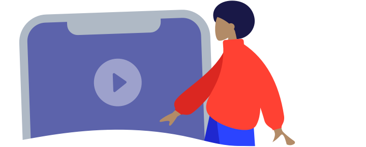 Illustration showing a patient viewing the video on a smartphone.
