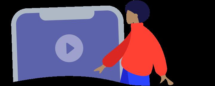Illustration zeigt einen Patienten beim Anschauen des Videos auf einem Smartphone.