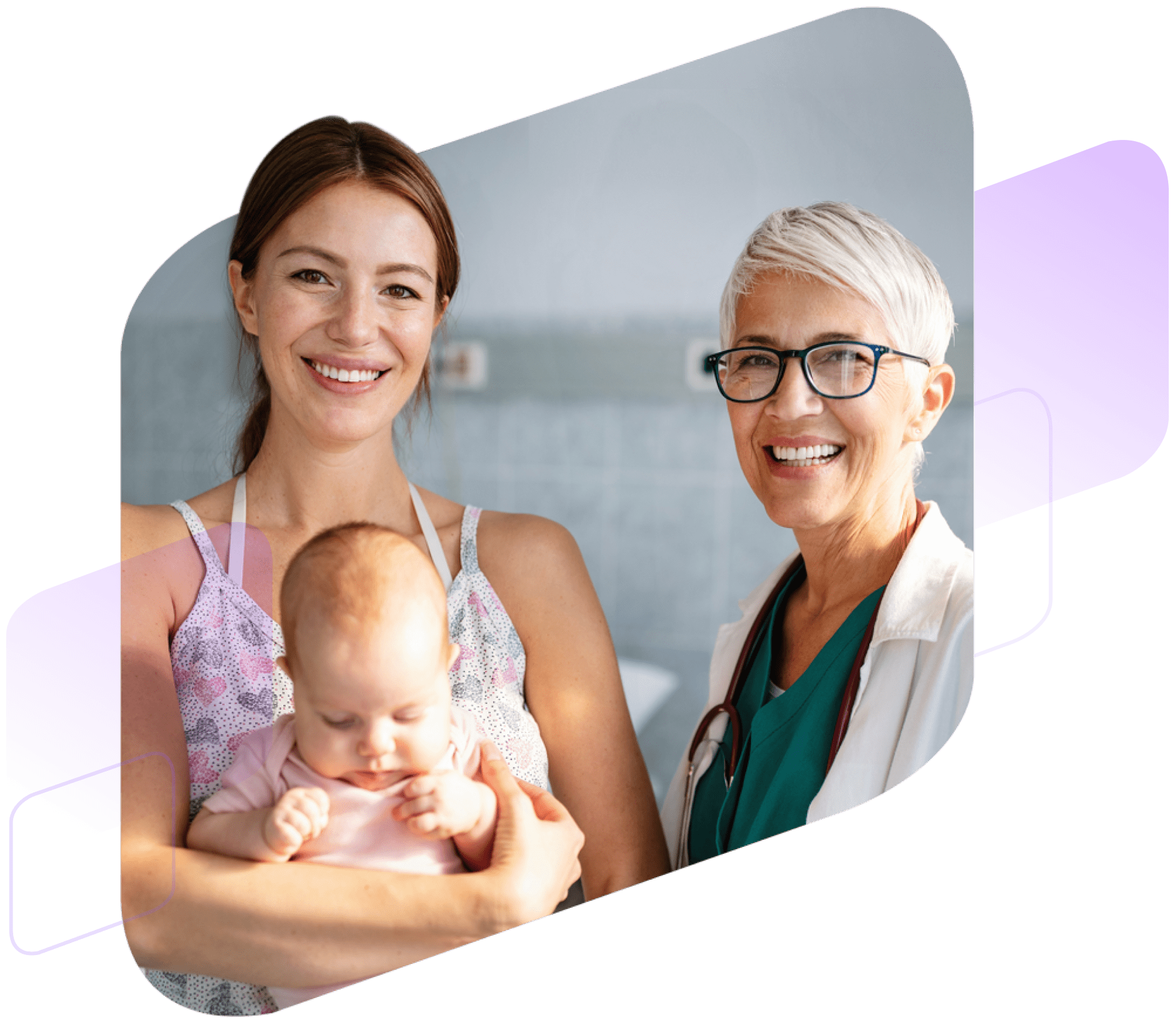 Woman with baby and doctor