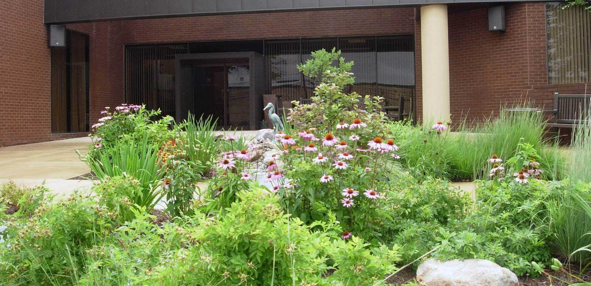 landscape flower bed in front of Mannington Mills entrance