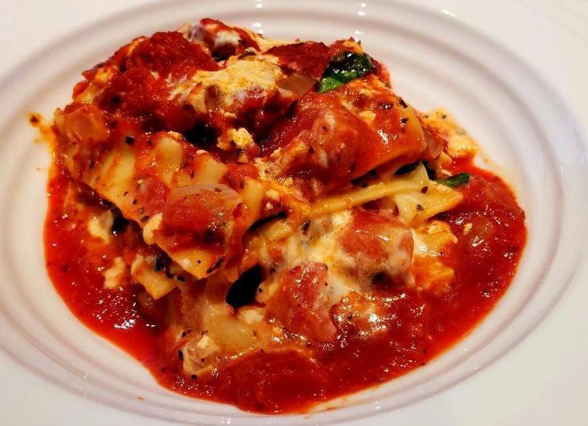 Slice of vegan lasagna