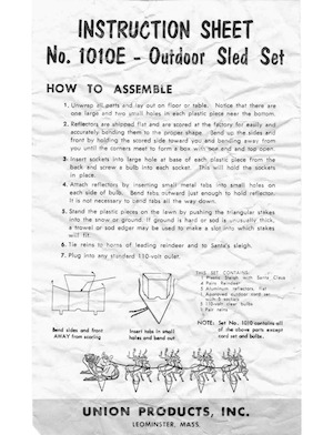 Union Products Outdoor Sled Set #1010E Instruction Manual.pdf preview