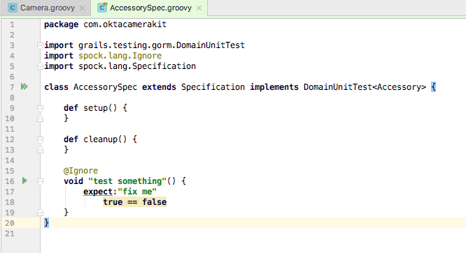 Accessory spec in groovy