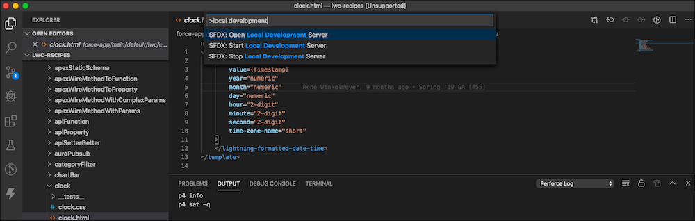 VS Code commands for Local Development