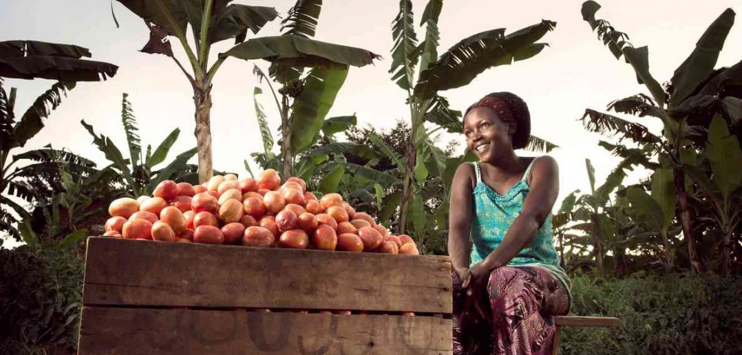 A woman seated smiling next to a barrel of fruit.