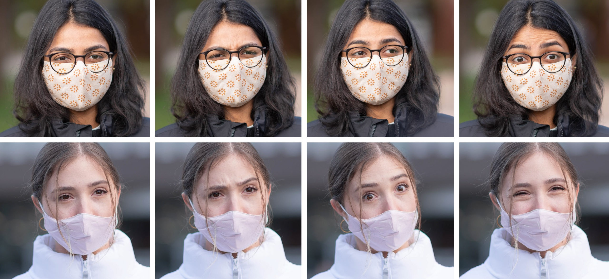 A series of images showing how eyes can help express what someone is saying when they are wearing a COVID-19 face mask