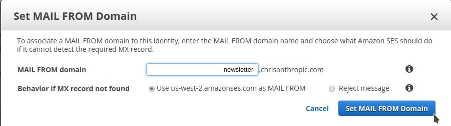 Create MAIL FROM Domain