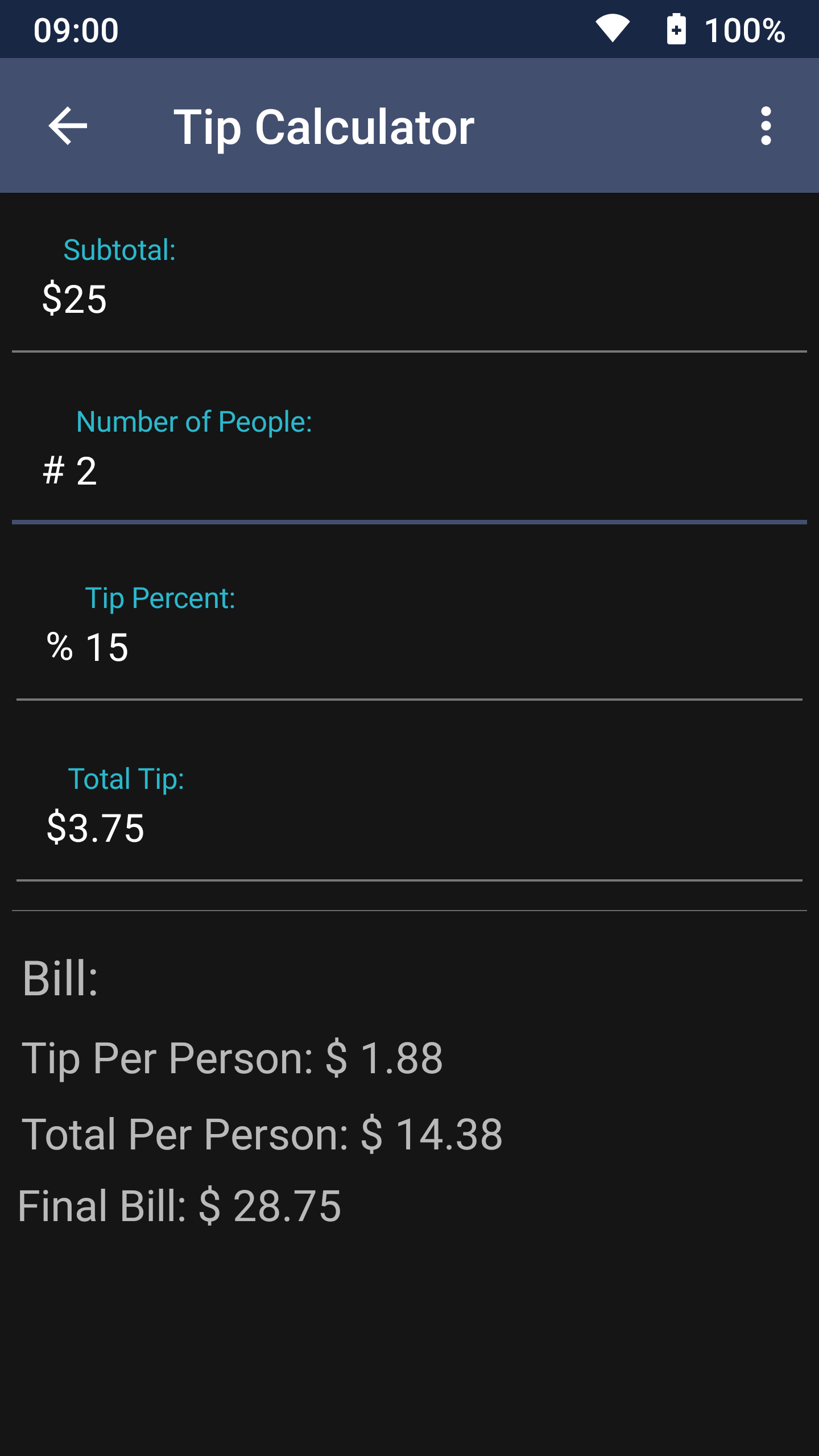 Screenshot of Tip Calculator in unitMeasure: Offline Converter App