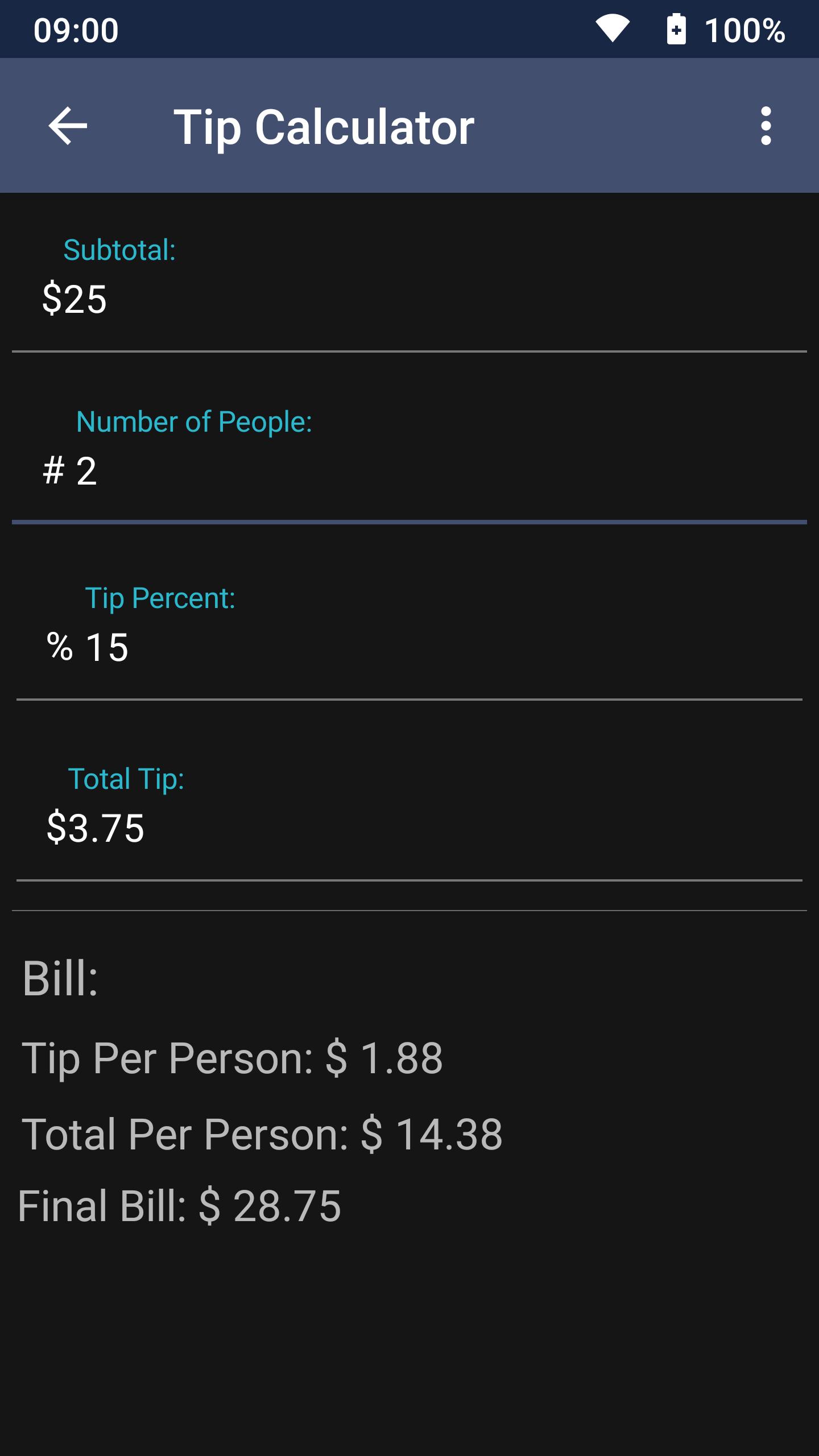 Screenshot of Tip Calculator in unitMeasure: Offline Converter App