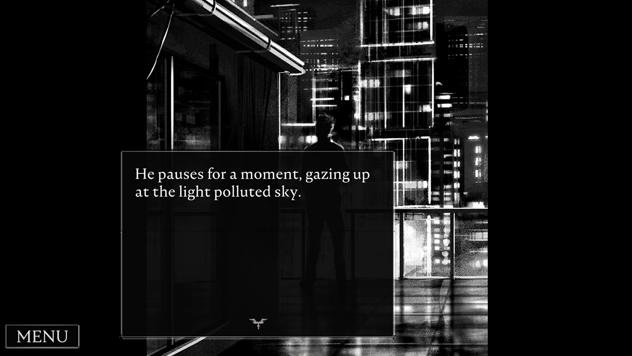 Monochromatic CG of a silhouette standing at a glass railing on a balcony. Text: He pauses for a moment, gazing at the light polluted sky.