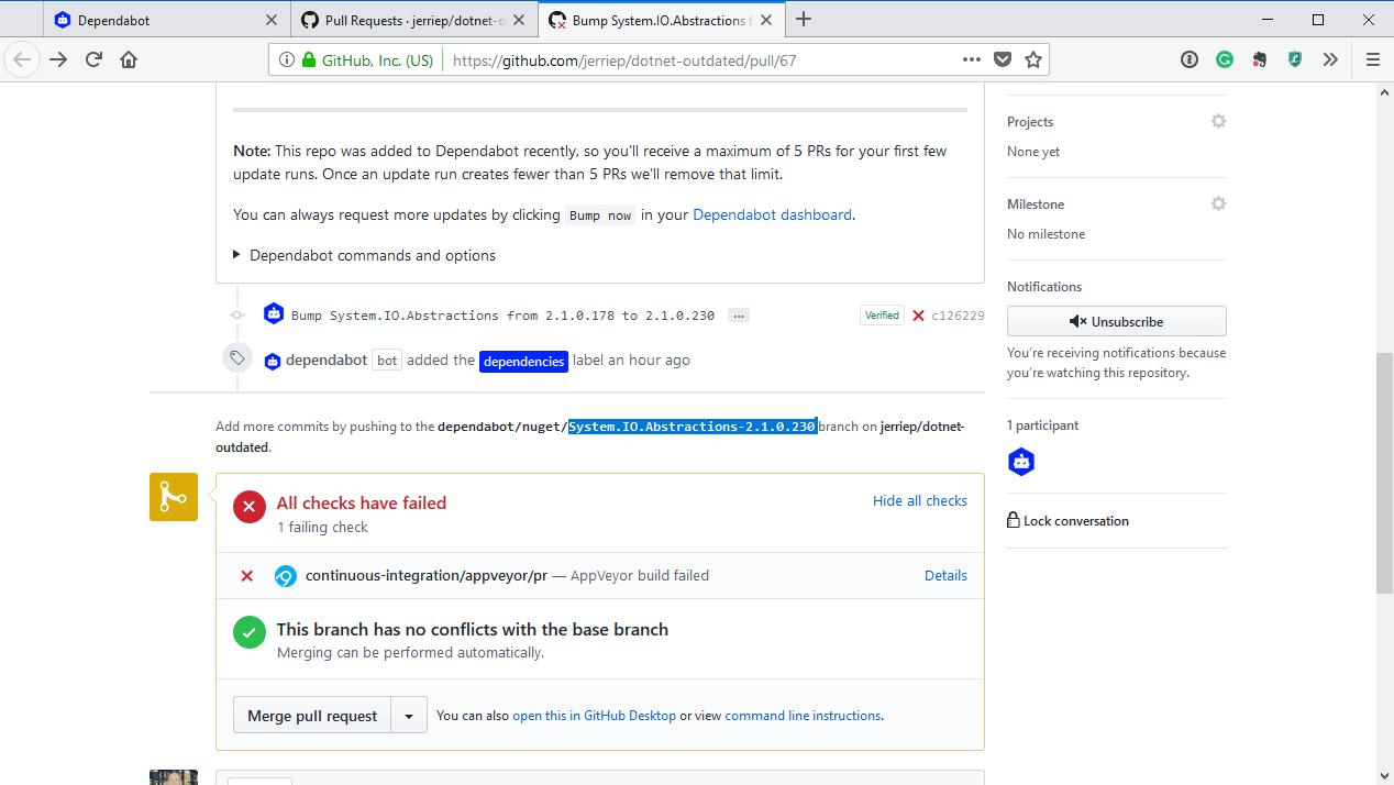 GitHub PR checks failing
