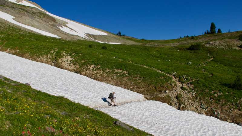 Crossing a snow field on the PCT