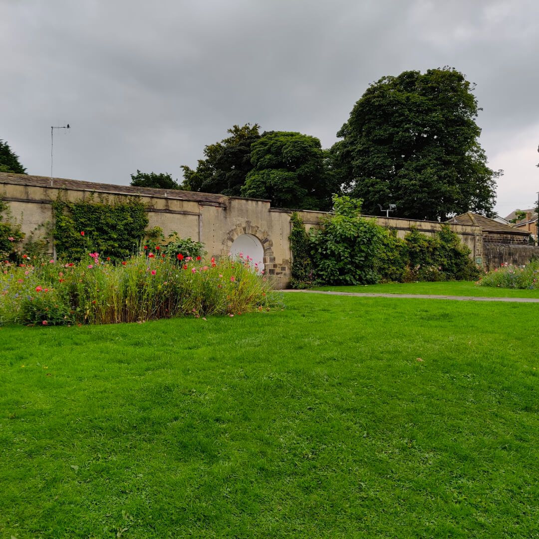 Horsforth Hall Park wall and grass