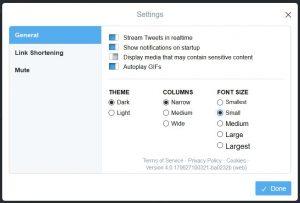Tweetdeck settings box