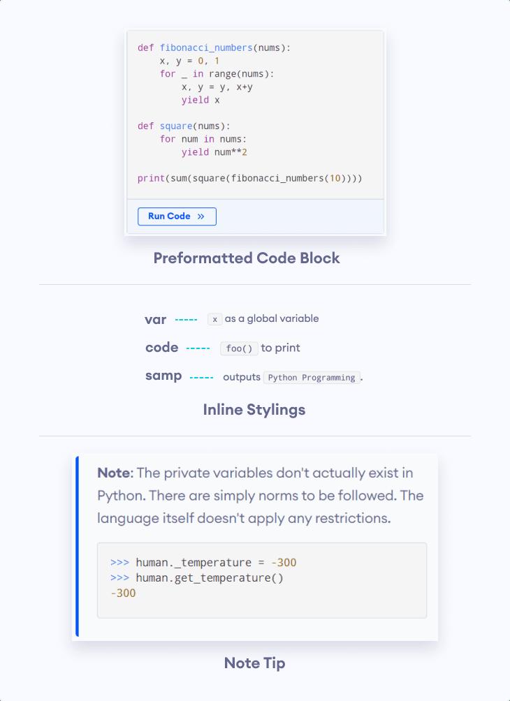 Programiz-specific elements