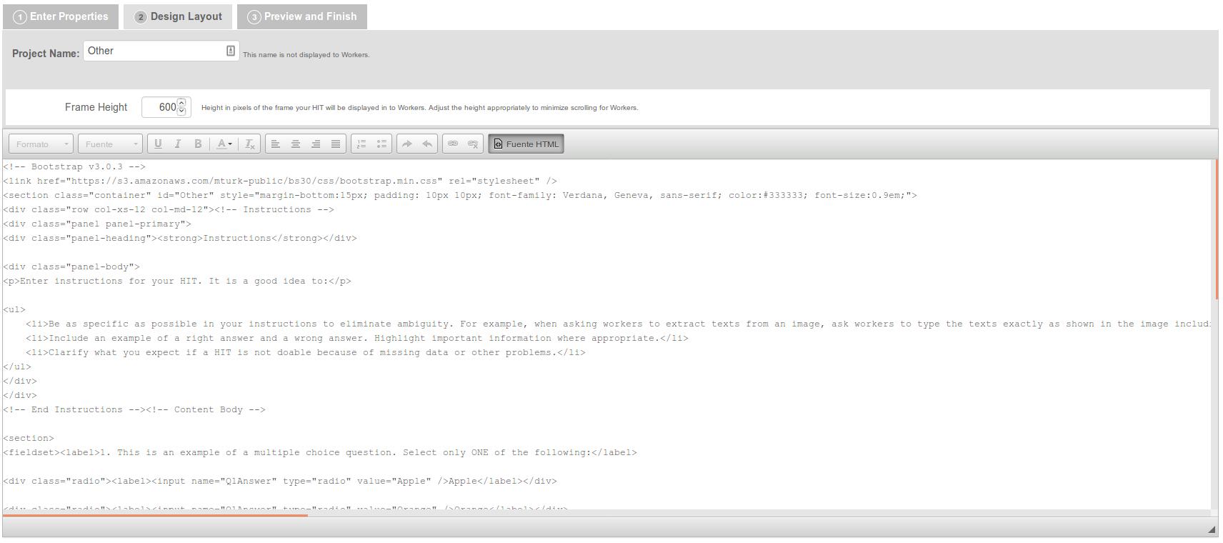 HTML Source on Mechanical Turk