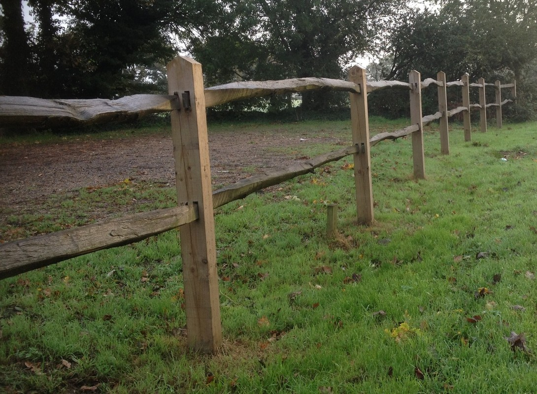 Wooden post and rail fencing