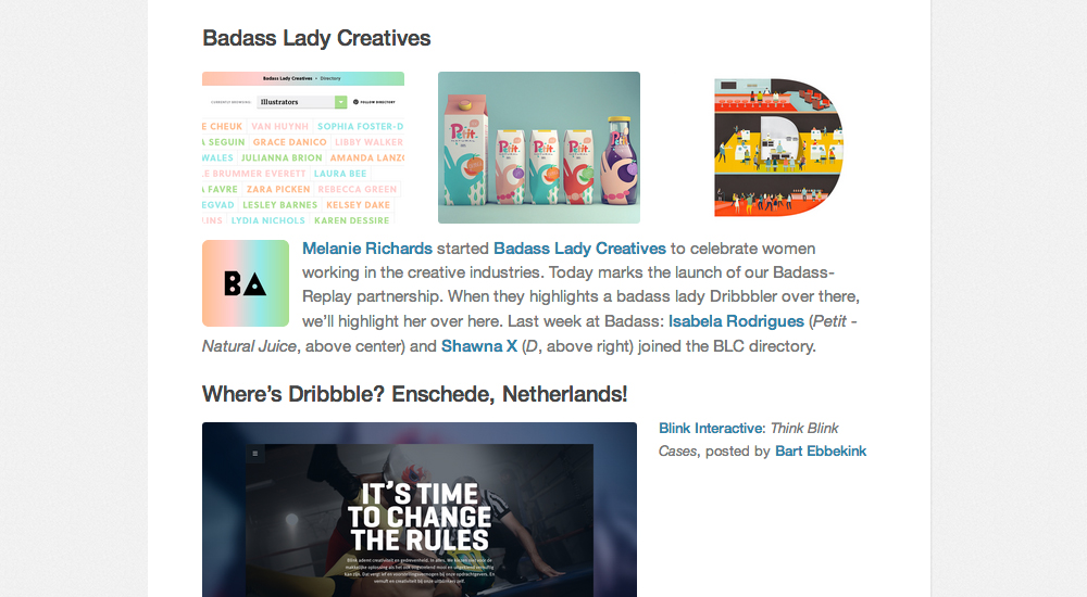 Badass Lady Creatives featured on the Dribbble blog
